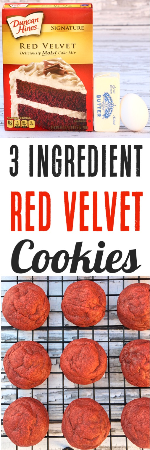 Red Velvet Cookies from Cake Mix Easy Recipe for Chirstmas Valentine's Day or 4th of July Dessert Recipes