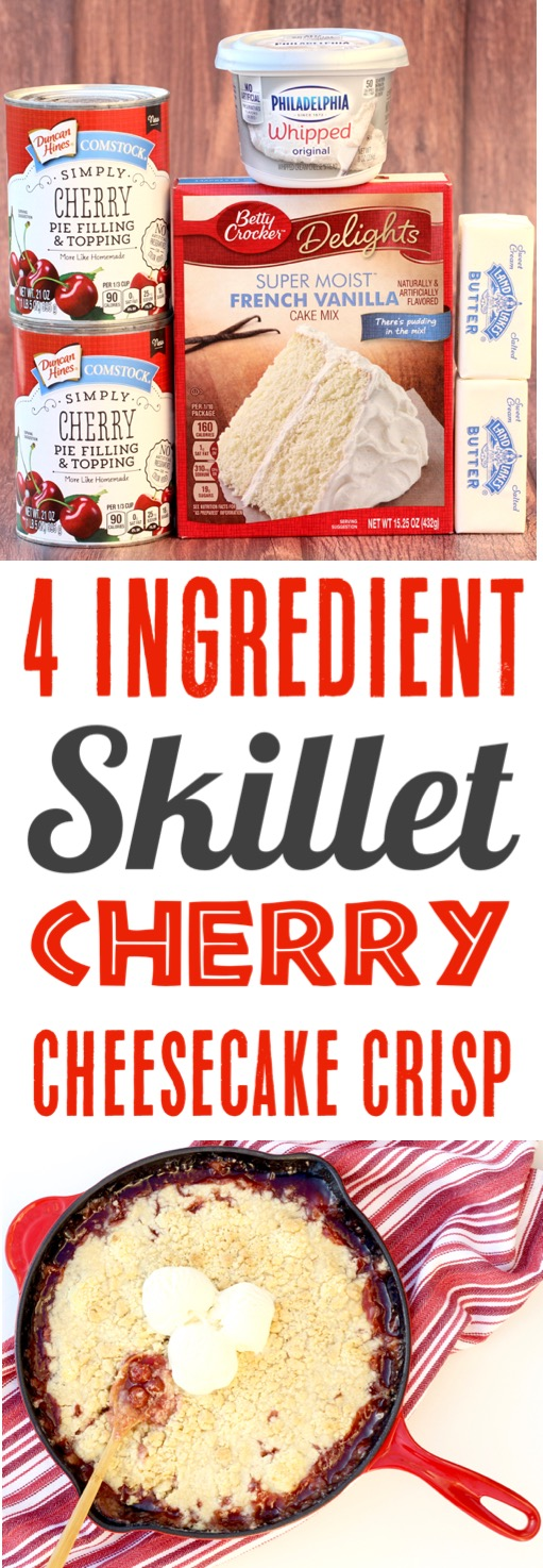 Cherry Cheesecake Recipe Easy Skillet Cherry Crisp - Just 4 Ingredients