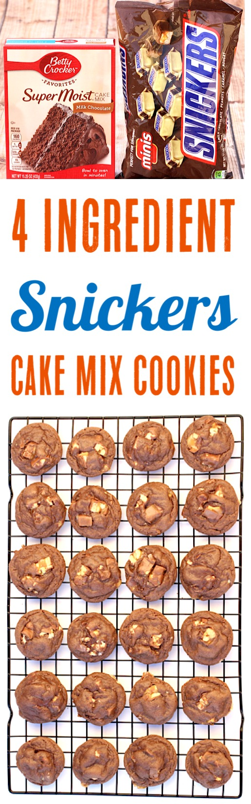 Snickers Cookies Recipes Easy Cake Mix Cookie Recipe using Snickers Candy Bars - Just 4 Ingredients