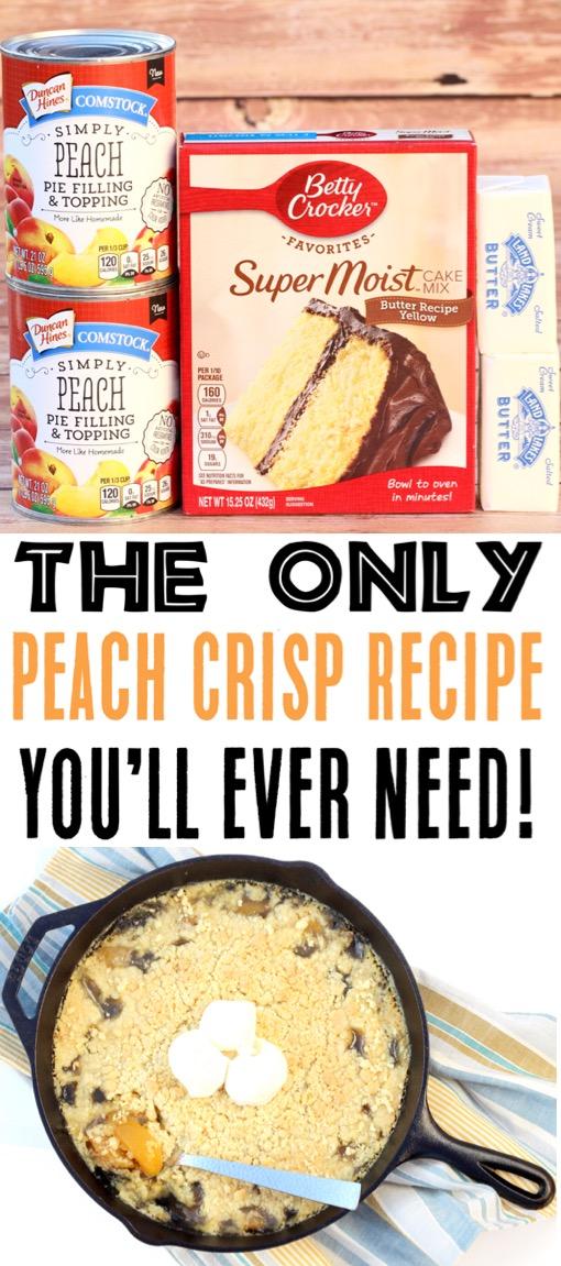 Peach Cobbler Easy Dump Cake Recipe Using Canned Peach Pie Filling