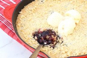 Easy Skillet Blueberry Crisp Recipe at TheFrugalGirls.com