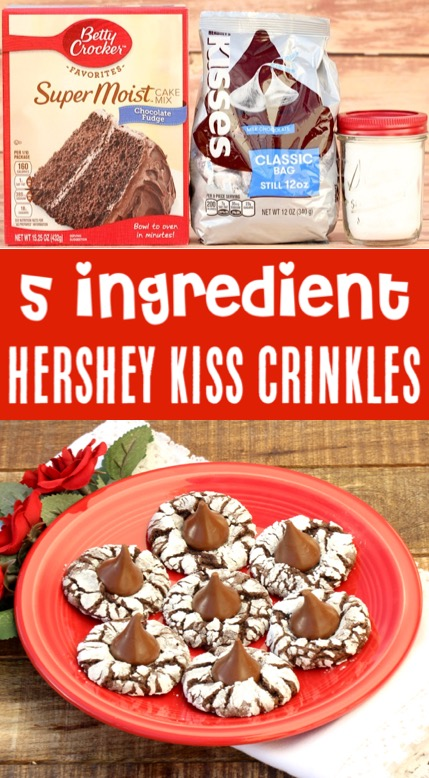 Christmas Cookies Recipes Easy Chocolate Cake Mix Crinkle Hershey Kiss Cookie Recipe