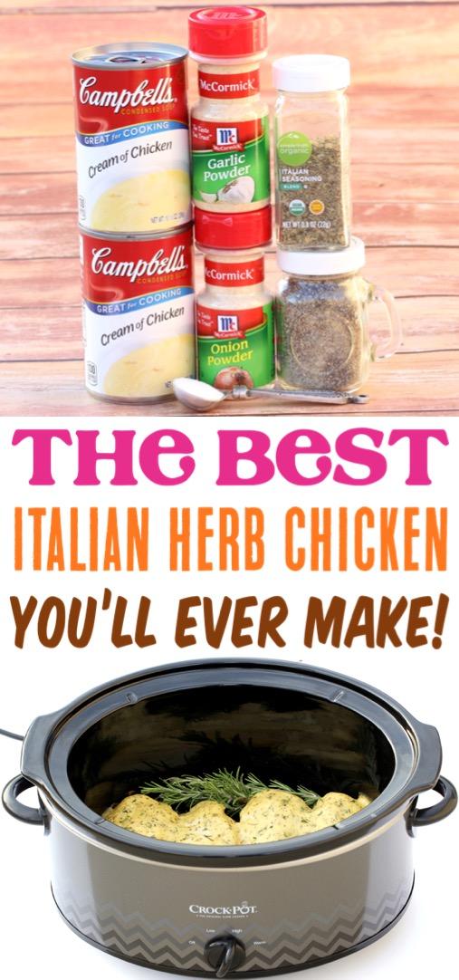 Crockpot Italian Herb Chicken Recipe Easy Slow Cooker Recipes