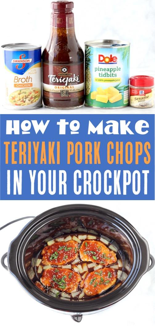 Crockpot Pork Chops Easy 4 Ingredients Teriyaki Slow Cooker Pork Chop Recipe