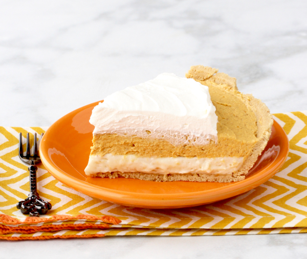 No Bake Pumpkin Cream Cheese Pie with Graham Cracker Crust