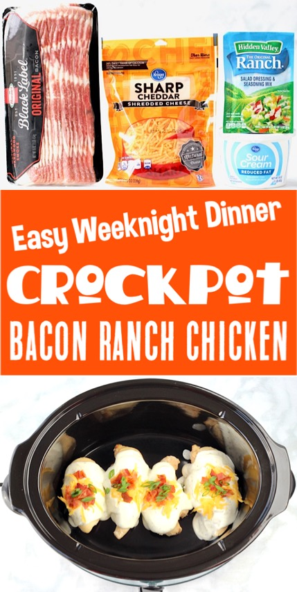 Crockpot Recipes Easy Chicken Meals - Bacon Ranch Chicken Dinner