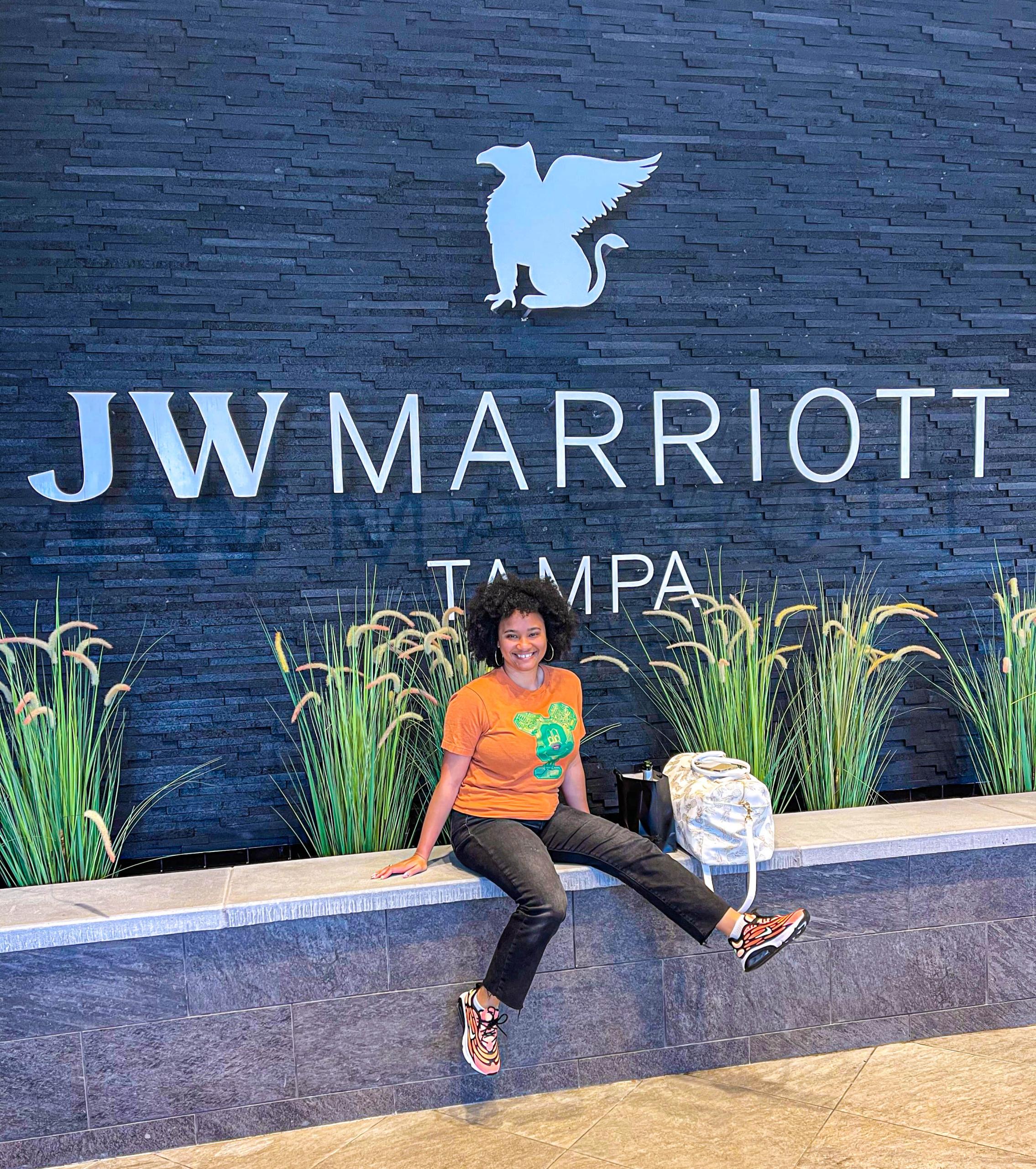 sitting outside JW Marriott Tampa Water Street