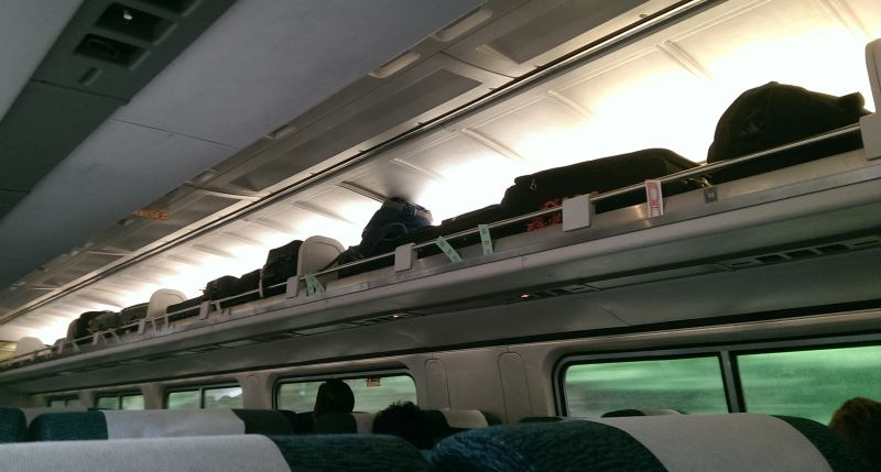 Overhead space on a train