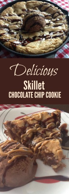 Absolutely delicious skillet chocolate chip cookie recipe that your family will devour!