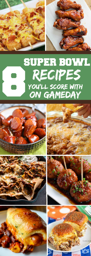Get ready for Super Bowl LII with these recipes, including wings and nachos, that will score you some big points on game-day! #superbowlsnacks #superbowlLII #gamedayrecipes