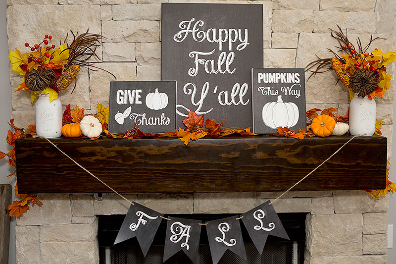 CHALKBOARD COLORFUL FALL MANTEL BY LILLIAN HOPE DESIGNS
