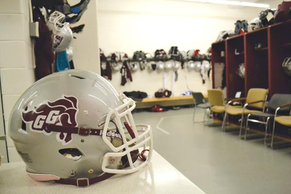 A football helmet in the Gee-Gees football teams locker room
