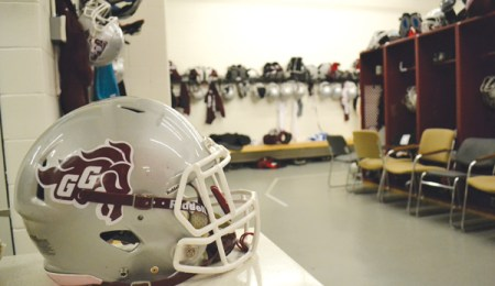 A football helmet in the Gee-Gees football teams locker room