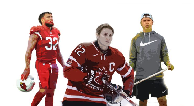 From left to right; Tyrann Mathieu, Hayley Wickenheiser and Lyle Thompson