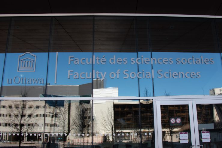 close up of social science building