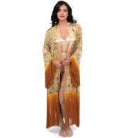 Rose Garden and Ombre Silk Fringed Scarf Robe