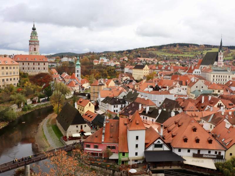 Red-roofed buildings and spires of the old town in Cesky Krumlov