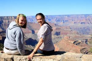 Molly and Gwen in front of the Grand Canyon