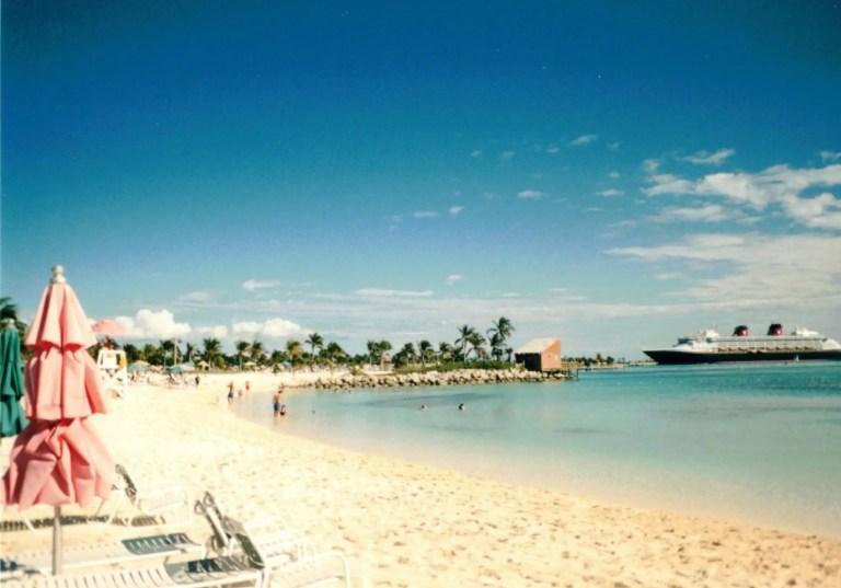 beach and cruise ship on Castaway Caye, Bahamas