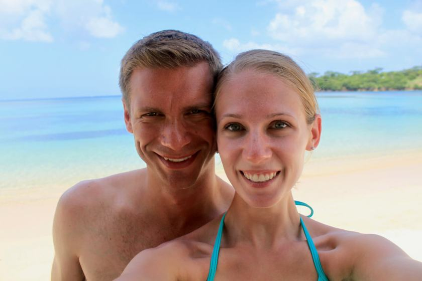 M and Gwen on a beach in Grenada