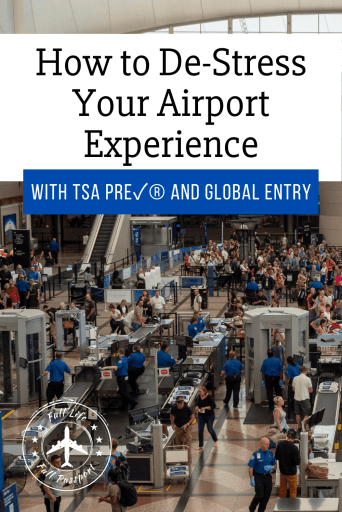 Global Entry article graphic with busy security lines at Denver Airport
