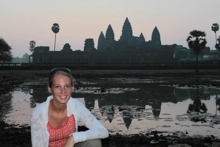 Gwen During Sunrise at Angkor Wat