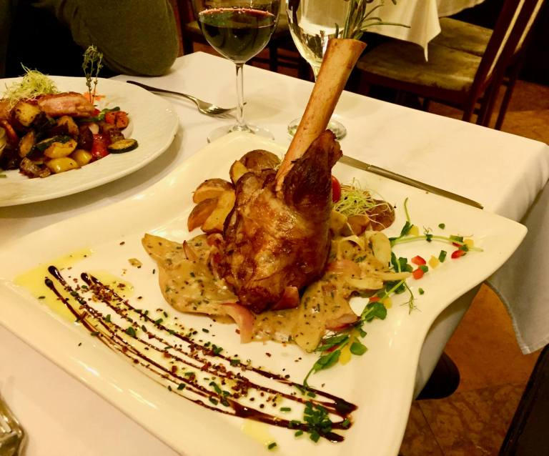 Elegantly presented lamb dinner