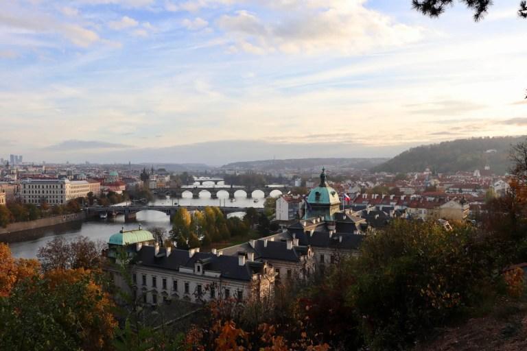 Prague Cityscape with Vlatava river