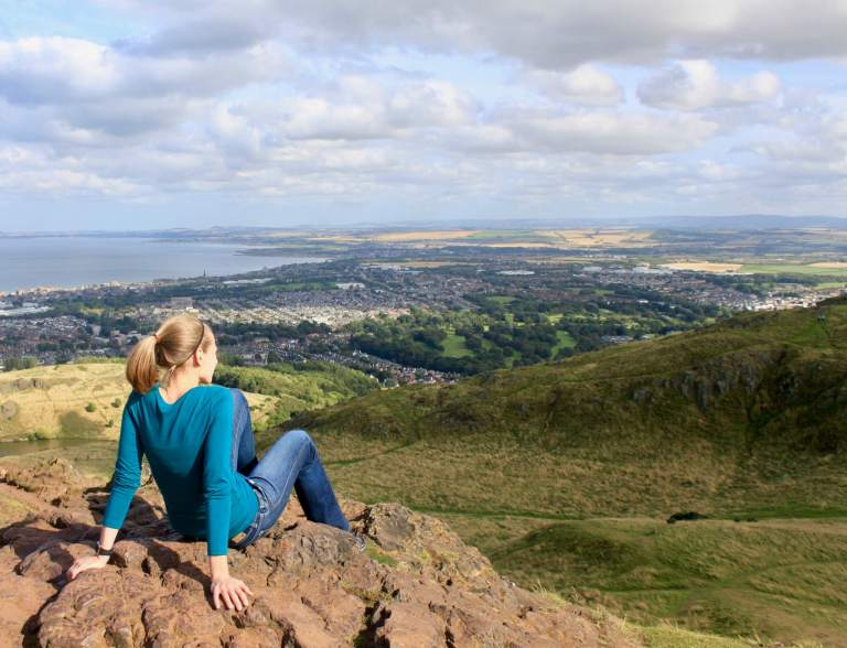 Gwen at Arthur's Seat lookout. At this point, I could only imagine the wonders that awaited on our itinerary for one week in Scotland!