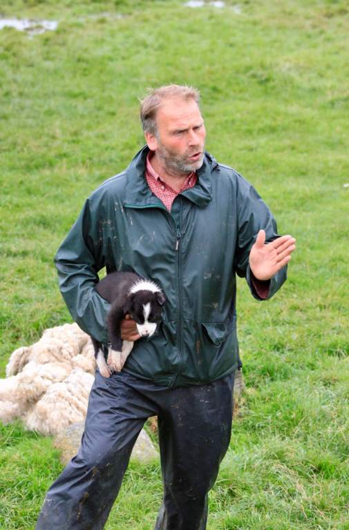 Shepherd Neil explaining his craft while holding a border collie puppy