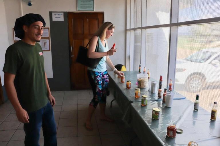Brooke sampling the wares at the factory