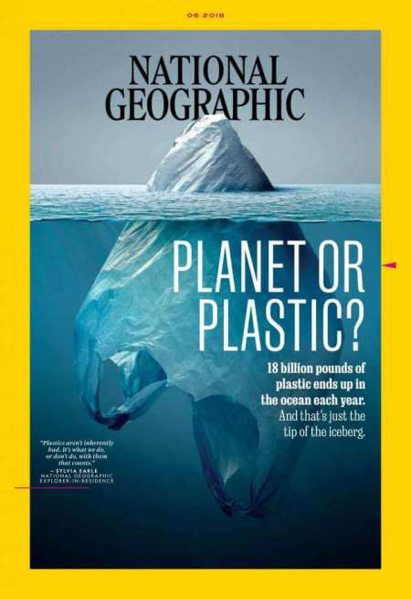 """National Geographic """"Planet or Plastic?"""" cover with plastic bag as iceberg"""