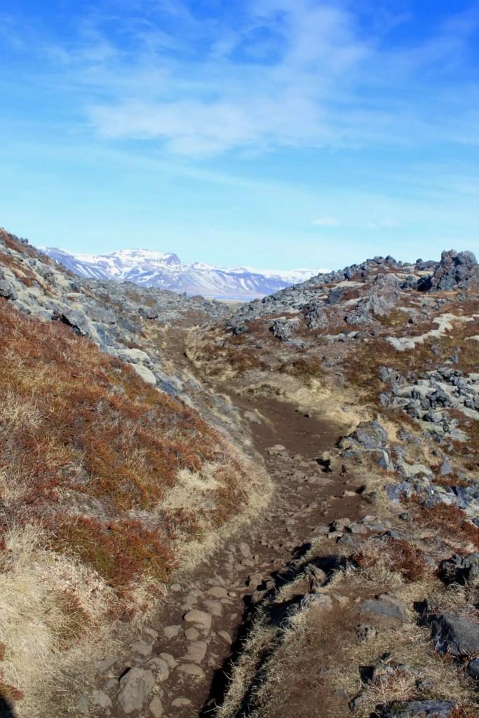 trail through Hellnar lava fields