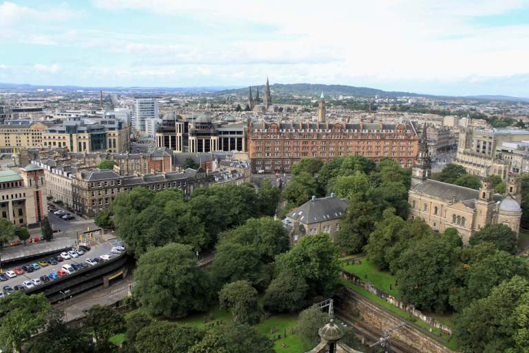 View out over Edinburgh from the castle battlements