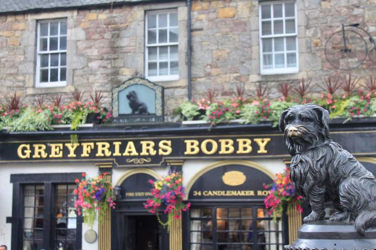 black statue of Greyfriar's Bobby dog with gold nose from being rubbed