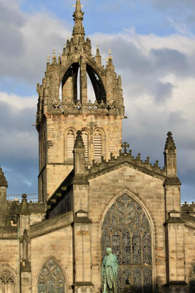 St. Giles' Cathedral lit by evening light