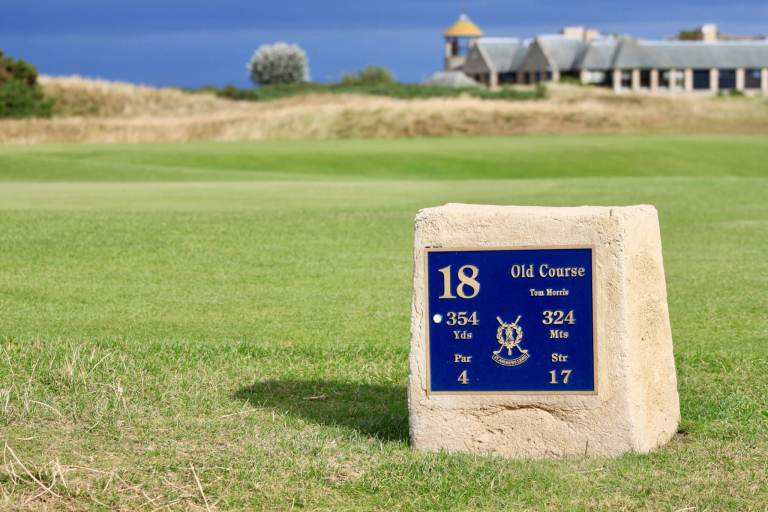 Marker at 18th hole on St. Andrews Old Course