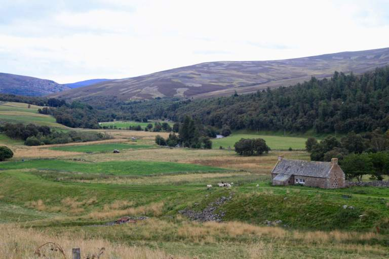 Stone farmstead tucked into green hills and forest