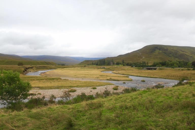 Scottish Highland landscape with river and mountain