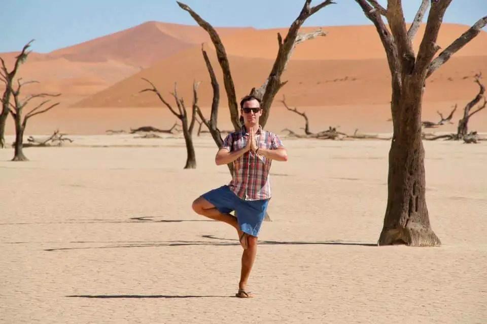 Max striking a pose in the Namibian desert