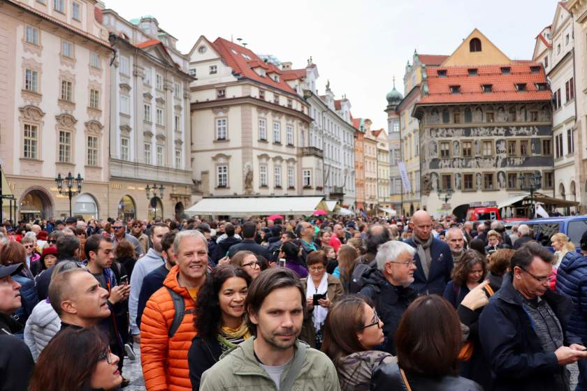 Wall-to-wall crowds in front of the Astronomical Clock in Prague
