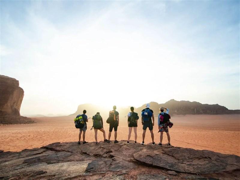 Hikers in Jordan's Wadi Rum