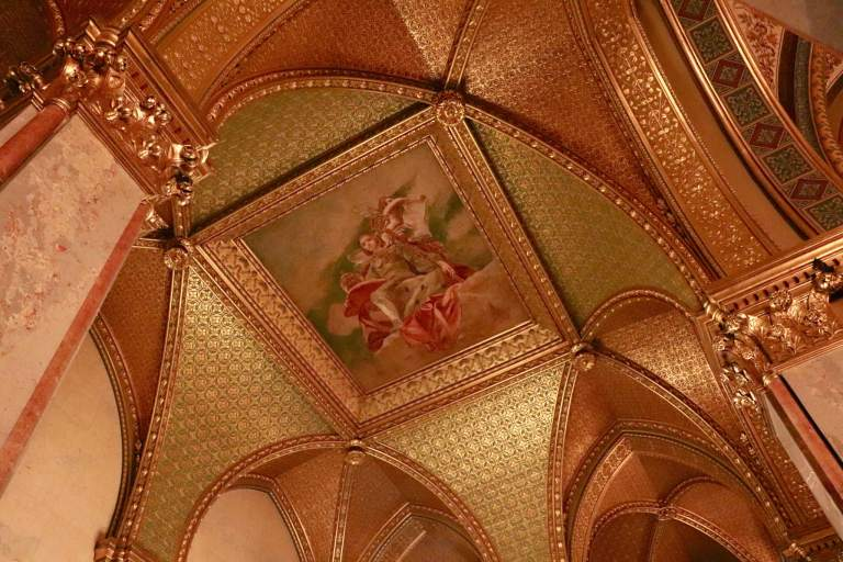 Gold-plated ceiling inside Hungarian Parliament Building