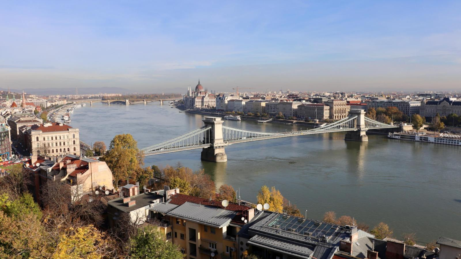 City view of Budapest, with Danube River and bridges