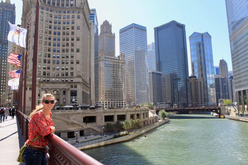 Gwen on the DuSable Bridge in Chicago