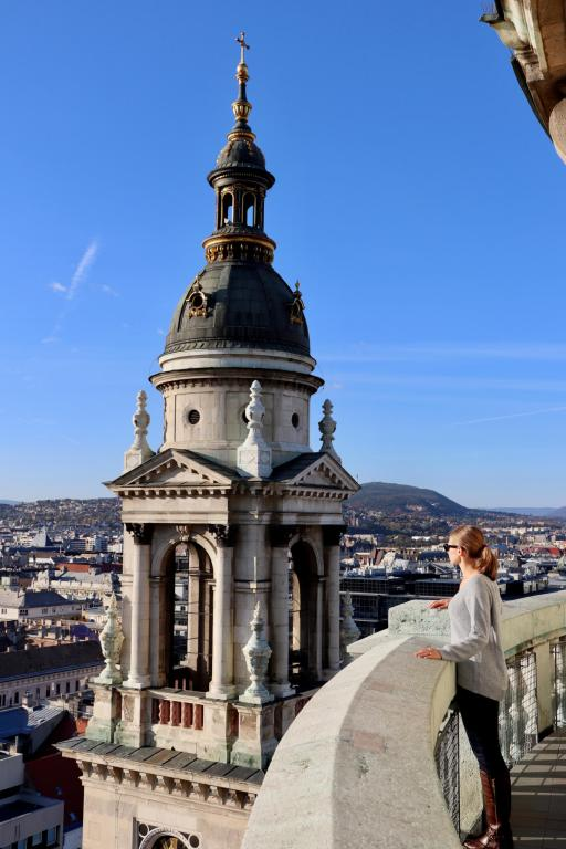 Gwen looking out over Budapest from viewing platform at the top of the Basilica