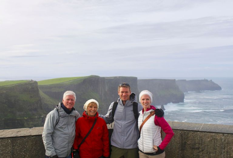 Gwen, M, and M's parents at the Cliffs of Moher. My first adult experience with multigenerational travel!