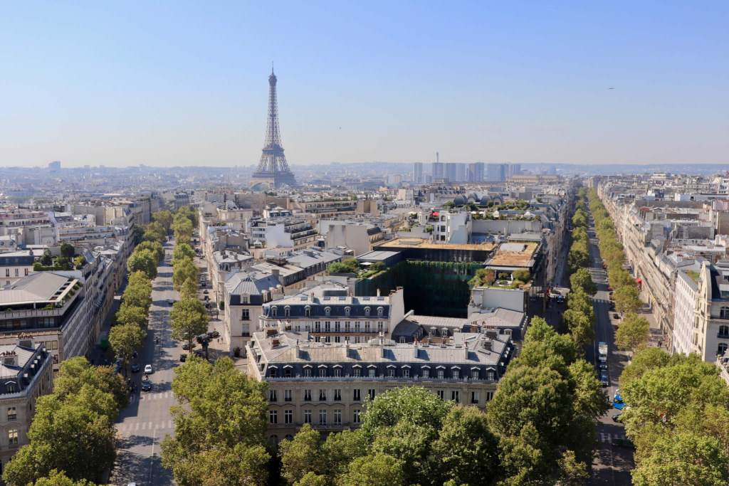 Paris Skyline and Eiffel Tower as seen from the Arc de Triomphe. A mother-daughter vacation to Paris would be the ultimate getaway.