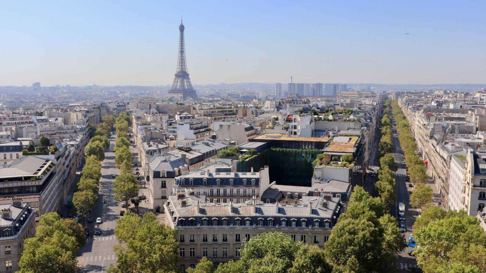 Paris Skyline and Eiffel Tower as seen from the Arc de Triomphe