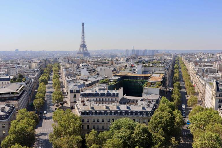 Paris Skyline and Eiffel Tower as seen from the Arc de Triomphe on our short trip to Paris
